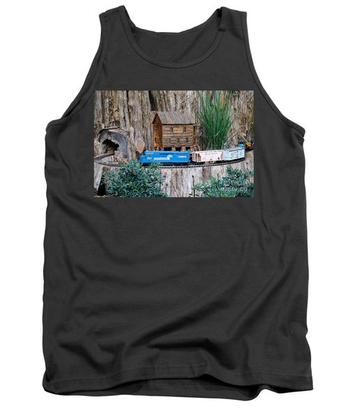 Tank Top featuring the painting Train Train Take Me Out Of This Town by Robert Pearson