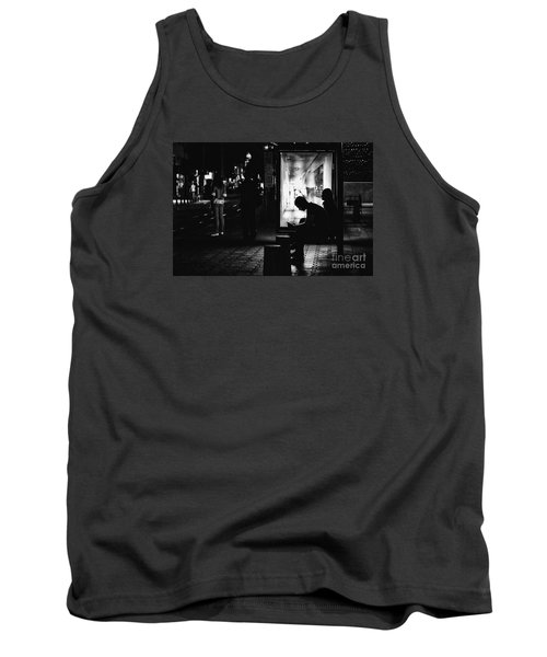 Tank Top featuring the photograph Tram Station Silhouettes by Jivko Nakev