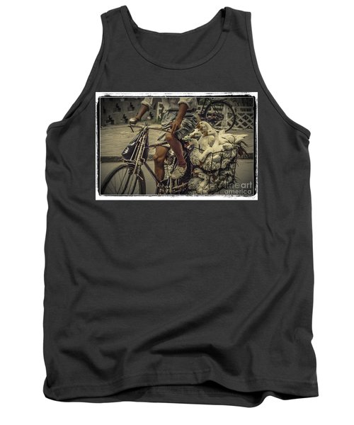 Tank Top featuring the photograph Transport By Bicycle In China by Heiko Koehrer-Wagner