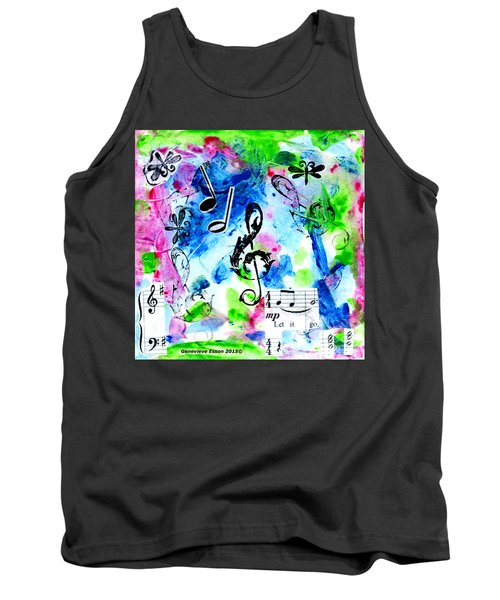 Tank Top featuring the mixed media Treble Mp by Genevieve Esson