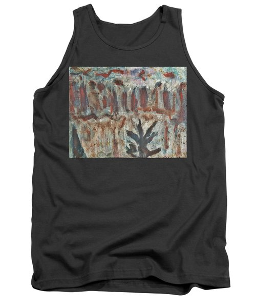 Tree Facing Frozen Lake With Roiling Storm Clouds Rolling In From The Mountain Range Winter With Fal Tank Top