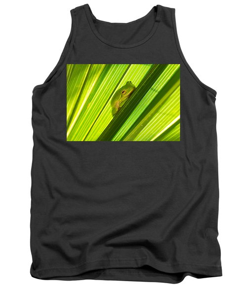 Tree Frog And Palm Frond Tank Top by Kenneth Albin
