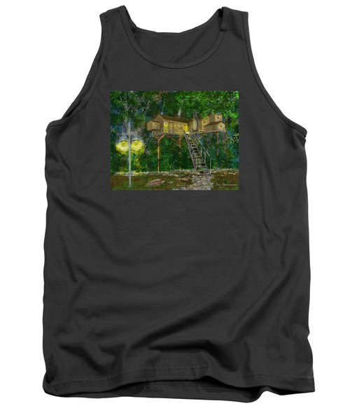 Tank Top featuring the drawing Tree House #10 by Jim Hubbard