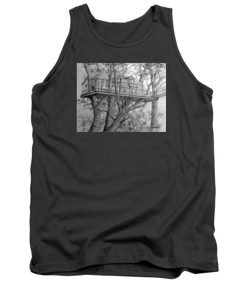 Tank Top featuring the drawing Tree House #4 by Jim Hubbard