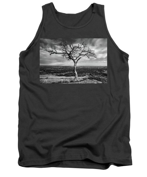 Tree On Enchanted Rock In Black And White Tank Top
