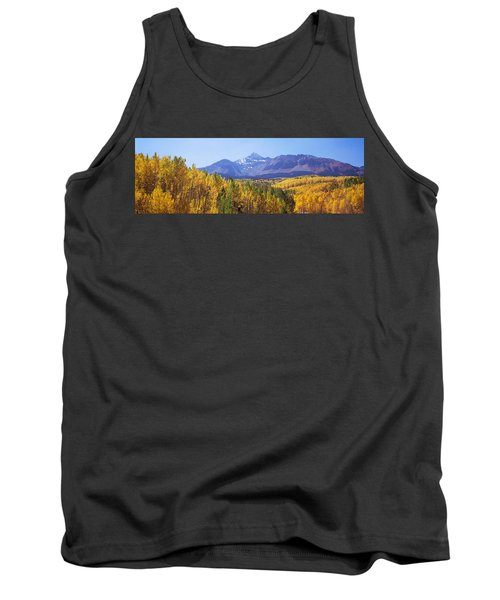 Trees In A Forest With Mountain Range Tank Top