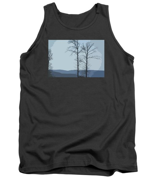 Tank Top featuring the photograph Trees On Blue by Donna G Smith
