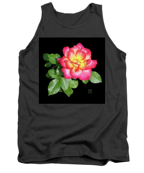 Tri-color Pink Rose2 Cutout Tank Top by Shirley Heyn