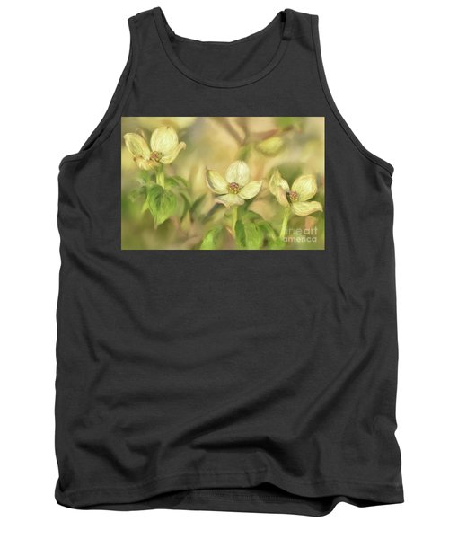 Tank Top featuring the digital art Triple Dogwood Blossoms In Evening Light by Lois Bryan