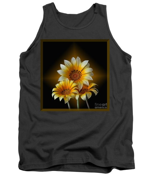 Triple Sunshine Black And Gold Tank Top by Shirley Mangini