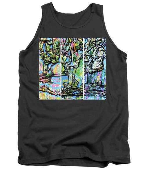 Tank Top featuring the painting Triptych Of Three Trees By A Brook by Genevieve Esson