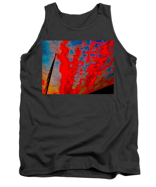 Trump Red Sunset Meets American Flag Tank Top