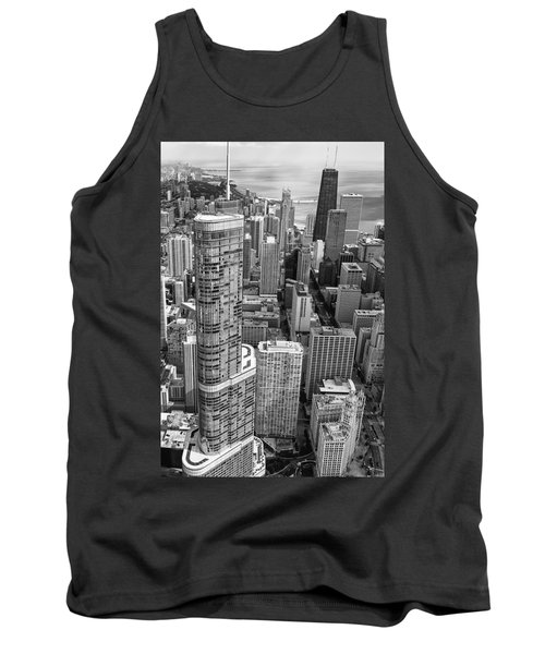 Tank Top featuring the photograph Trump Tower And John Hancock Aerial Black And White by Adam Romanowicz
