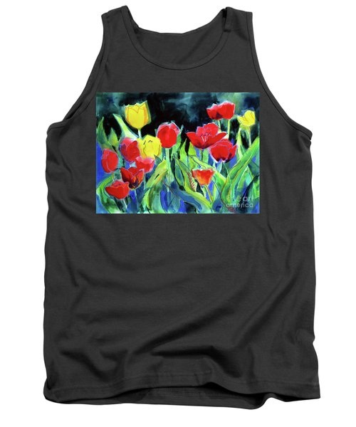 Tank Top featuring the painting Tulip Bed At Dark by Kathy Braud
