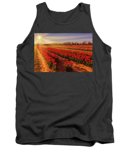 Tank Top featuring the photograph Tulip Farm Sunset by Susan Candelario
