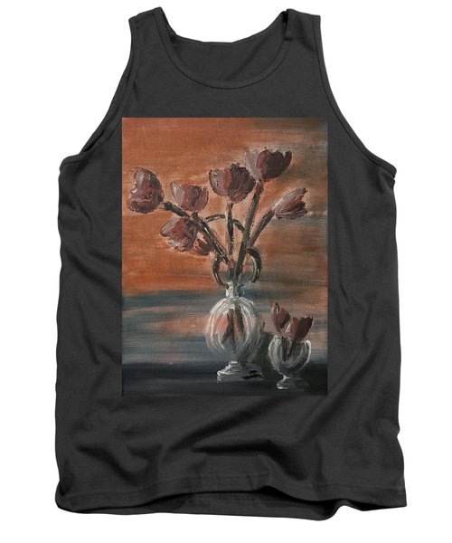 Tulip Flowers Bouquet In Two Round Water Filled Small Globe Shaped Vases On A Table Still Life Of Bo Tank Top