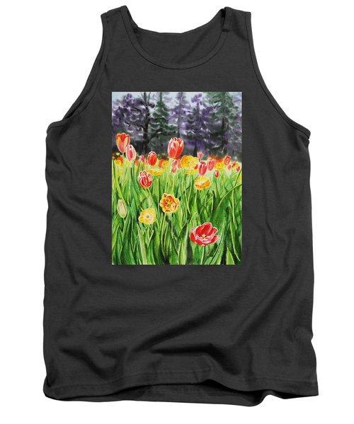 Tank Top featuring the painting Tulip Garden In San Francisco by Irina Sztukowski