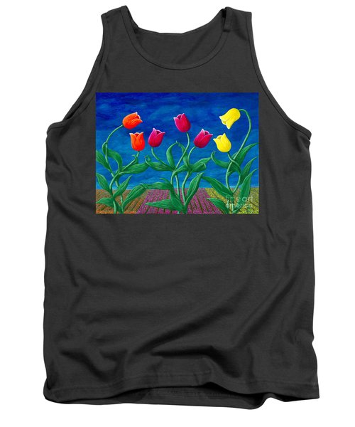Tank Top featuring the painting Tulip Tango by Rebecca Parker