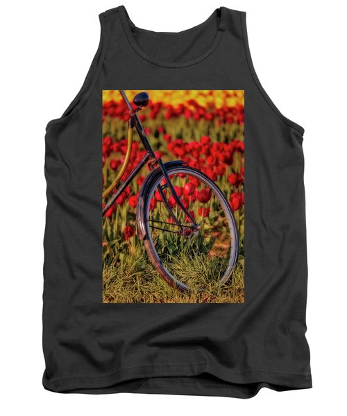 Tank Top featuring the photograph Tulips And Bicycle by Susan Candelario