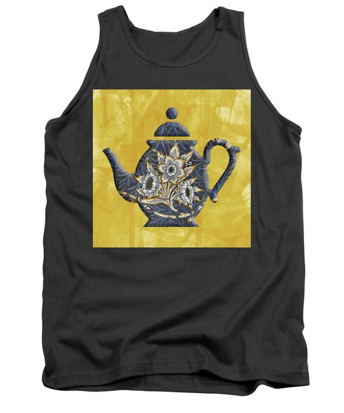 Tulips And Willow Pattern Teapot Tank Top