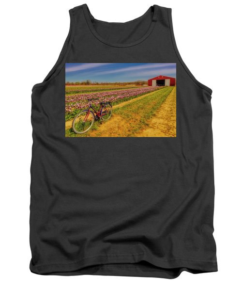 Tank Top featuring the photograph Tulips, Bicycle And Barn by Susan Candelario