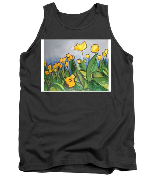 Tank Top featuring the painting Tulips In Springtime by Esther Newman-Cohen