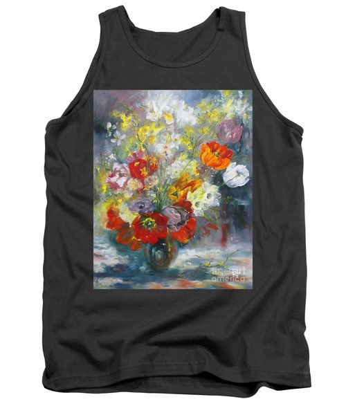 Tank Top featuring the painting Tulips, Narcissus And Forsythia by Ryn Shell
