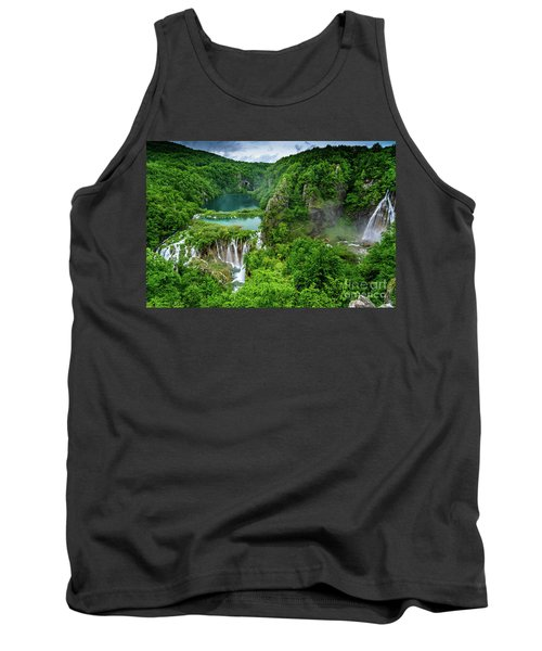 Turquoise Lakes And Waterfalls - A Dramatic View, Plitivice Lakes National Park Croatia Tank Top
