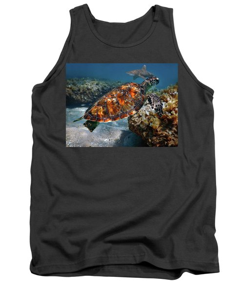 Tank Top featuring the photograph Turtle And Shark Swimming At Ocean Reef Park On Singer Island Florida by Justin Kelefas