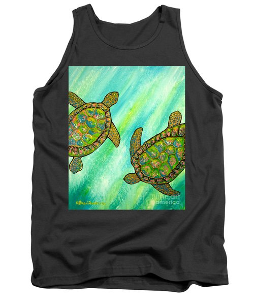 Tank Top featuring the painting Turtle Sea Dance by Patricia L Davidson