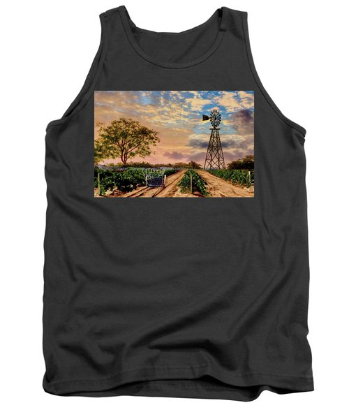 Twilight At The Vineyard Tank Top by Ron Chambers