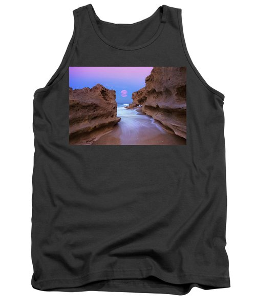 Tank Top featuring the photograph Twilight Moon Rising Over Hutchinson Island Beach Rocks by Justin Kelefas