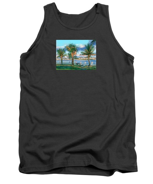 Tank Top featuring the digital art Twilight On Saw Fish Bay by Jean Pacheco Ravinski