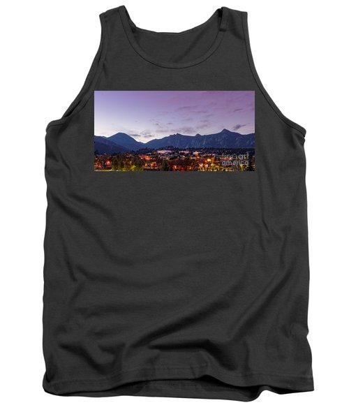 Twilight Panorama Of Estes Park, Stanley Hotel, Castle Mountain And Lumpy Ridge - Rocky Mountains  Tank Top