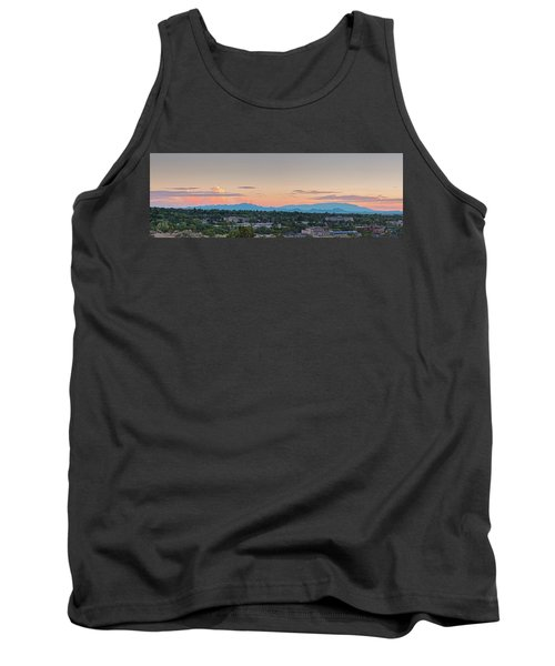 Twilight Panorama Of Santa Fe Cityscape With Sandia Mountains In The Background - New Mexico  Tank Top