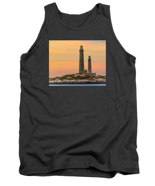 Twin Lights With Morning Glow Tank Top by Tim Kirchoff