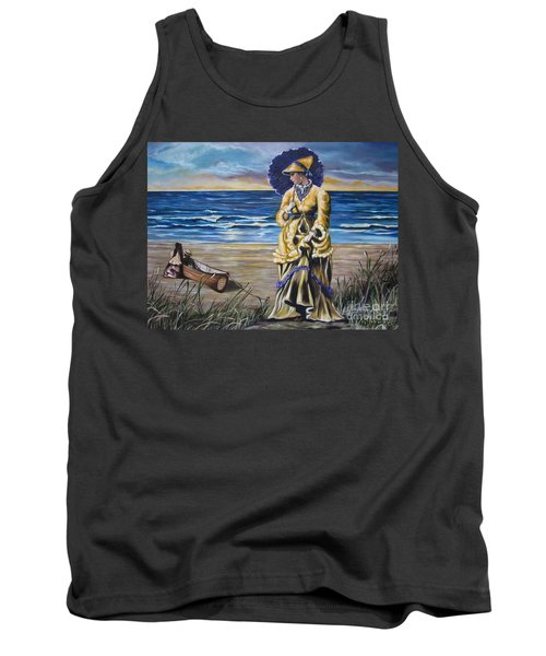 Tank Top featuring the painting   Historical 1800 Oil -  Lady In Yellow  by Sigrid Tune