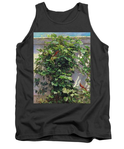 Tank Top featuring the painting Two Cardinals On The Vine Tree by Svitozar Nenyuk
