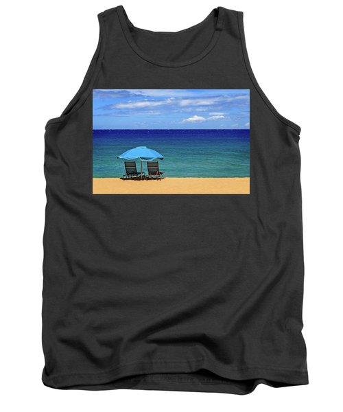 Tank Top featuring the photograph Two Chairs And An Umbrella by James Eddy