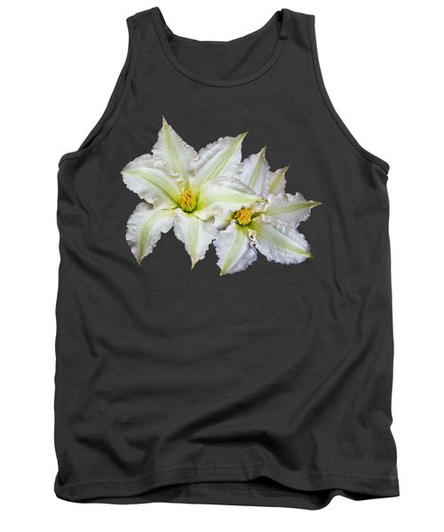 Tank Top featuring the photograph Two Clematis Flowers On Purple by Jane McIlroy