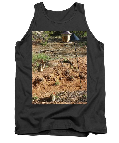 Tank Top featuring the photograph Two Rabbits And Bird Feeder by Joseph Frank Baraba