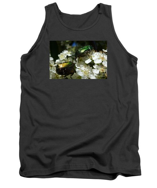 Tank Top featuring the photograph Two Scarabs Metallic Green by Jean Bernard Roussilhe