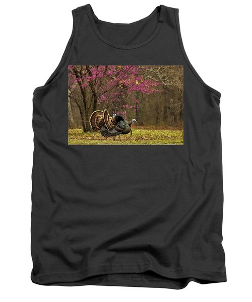 Two Tom Turkey And Redbud Tree Tank Top by Sheila Brown