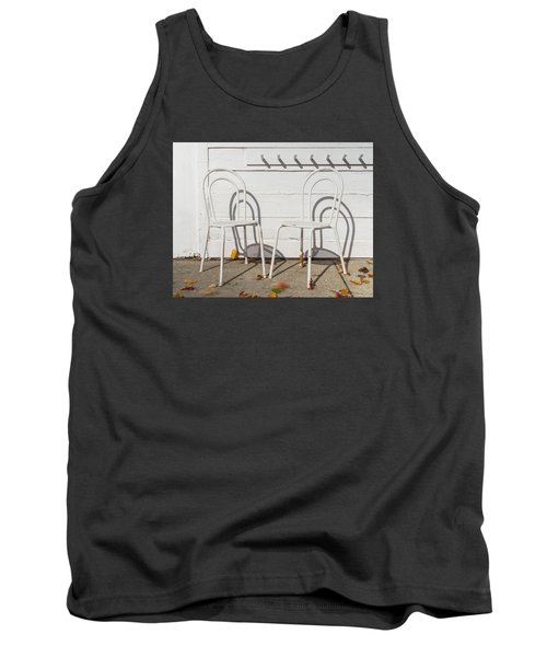 Two White Chairs And Autumn Wind Tank Top by Gary Slawsky