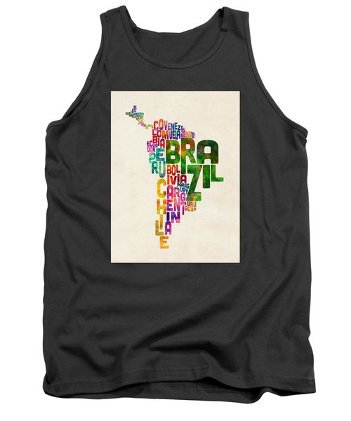 Typography Map Of Central And South America Tank Top by Michael Tompsett