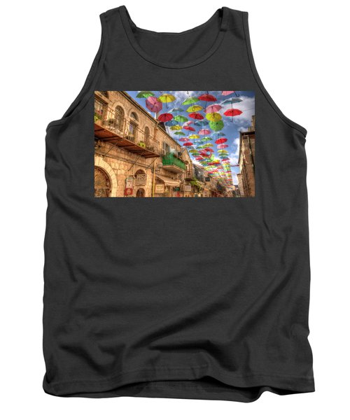Umbrellas Over Jerusalem Tank Top by Uri Baruch