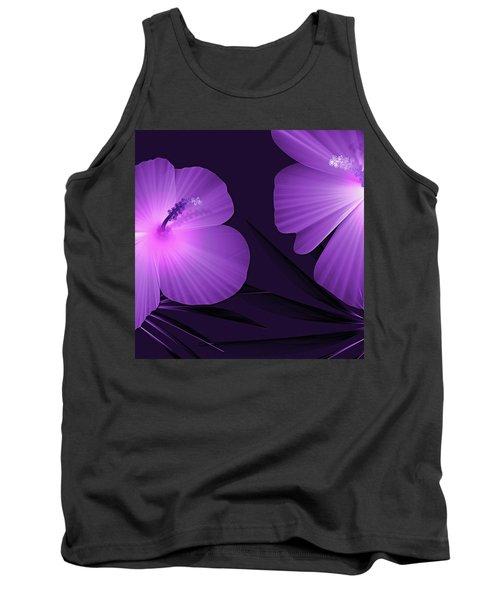 Ultraviolet Hibiscus Tropical Nature Print  Tank Top