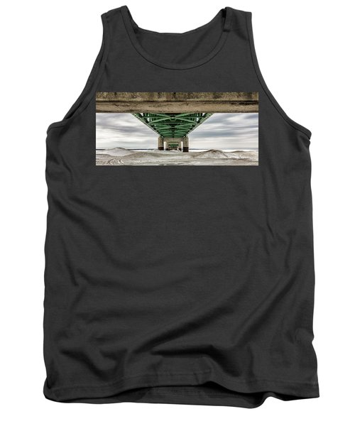 Tank Top featuring the photograph Under Mackinac Bridge Winter by John McGraw