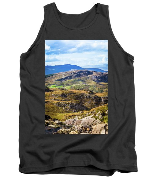 Tank Top featuring the photograph Undulating Green, Purple And Yellow Rocky Landscape In  Ireland by Semmick Photo
