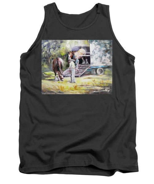 Tank Top featuring the painting Unloading The Clydesdales by Ryn Shell
